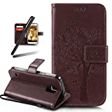 Galaxy S5 Mini Stand Case,Samsung Galaxy S5 Mini Wallet Case,Galaxy S5 Mini PU Leather Case,SKYMARS Cat Tree Embossed PU Leather Flip Kickstand Cards Slot Cash Pockets Wallet Magnetic Closure Book Style Case for Samsung Galaxy S5 Mini Tree Brown