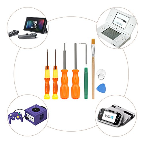 MoKo Repair Tool Kit for Nintendo, 9 in 1 Professional Screwdrivers L Wrench Cleaning Brush Precision Tool Set, for Nintendo Switch, Nintendo Wii / 2DS / 3 DS / DS Lite / GBA / Gamecube and More by MoKo (Image #7)