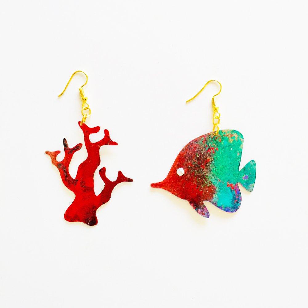 Dori pendientes - Pendientes largos corales - Pendientes de Dori - Joyas piscis - Accesorios - Novedad pendientes - Bisutería tropical