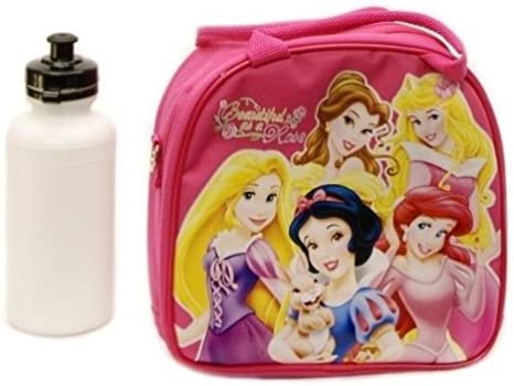Disney Princess Pink Lunch Box Lunch Bag and Adjustable Strap Insulated
