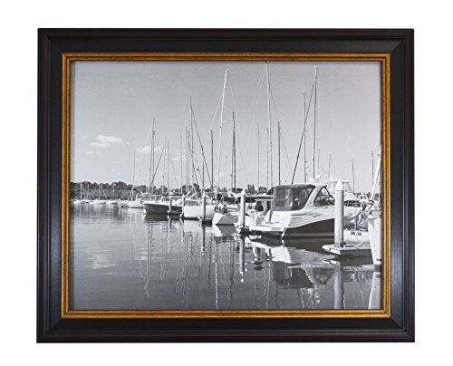 Golden State Art, 16x20 Black Photo Picture Frame with Burgundy and Gold Border Lines, with Real - Frame Black Gold