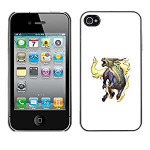 Colorful Printed Hard Protective Back Case Cover Shell Skin for Apple iPhone 4 / iPhone 4S / 4S ( Goat Mythical Creature Fire Horns Unicorn Art )