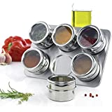 Okayji Stainless Steel Spice Rack Set, 6-Pieces, Silver