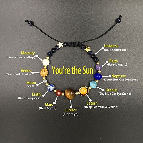 LiCHY Unisex Galaxy Bracelets Adjustable Universe Galaxy the Nine Planets Solar System Guardian Star Natural Stone Beads Bracelet Bangle for Women & Men Christmas Gift