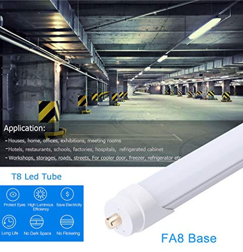 FALANFA Single Pin T8 96'' 8ft LED Tube 45W, 8' LED Fluorescent Tube Replacement,AC 85V 277V Input, 6000K Bright White,4500LM Frosted Lens Cover Super Bright 16-Pack by FALANFA (Image #3)