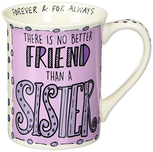 "Enesco 6000113 Our Name Is Mud Hand-Drawn ""Sister"" Stoneware Coffee Mug, 16 oz, - Coffee Mugs Names"