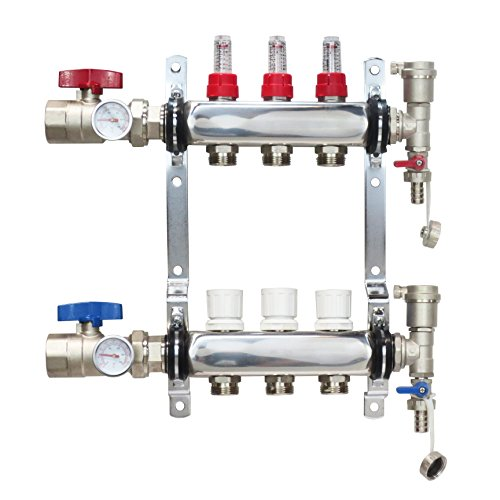 3 Loop Stainless Steel Premium PEX Manifold With 1/2'' Connectors for Radiant Heating - PEX GUY (3 Loops) by PEX GUY