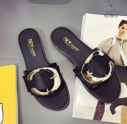 Anti Dames en de Sport Black Printemps Tongs de Plage Forme Sandales Chaussures Plates Dérapant DANDANJIE Pantoufles Femmes Boucle zpfqp7