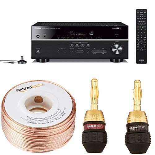 Yamaha RX-V685BL 7.2-Channel 4K Ultra HD AV Receiver with Wi-Fi Bluetooth and MusicCast with 16-Gauge Speaker Wire - 100 Feet and Banana Plugs - 6 pairs