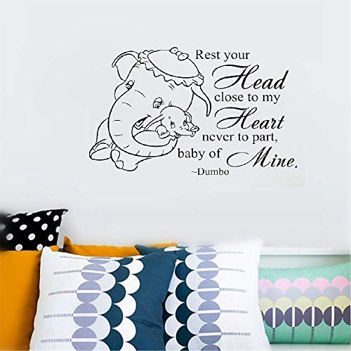 Dozili Vinyl Wall Decal Sticker Wall Art Quote Decor Wall Sticker Home Baby Elephant Head with Lovely Quotes for Kids Bedroom Hose Home Decoration Gift Idea 18