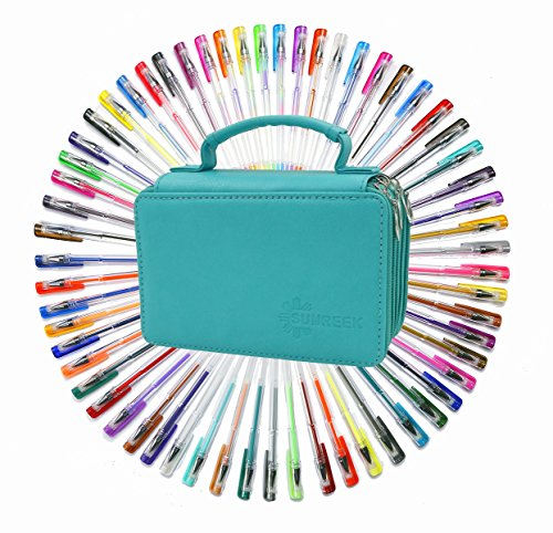 (60 Assorted Colors Gel Pen Set with 72 Slots PU LeatherTravel Case, for Sketching, Drawing, Painting, Writing & Custom Artistic Creations Adult Coloring Books (60 PCS, Green))