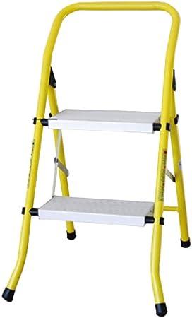 Nevy- Paso Taburete Aluminio Escalera de 2 escalones Silla Plegable De Uso múltiple multifunción Grueso Hogar portátil (Color : Amarillo, Tamaño : 47x52x48cm): Amazon.es: Hogar
