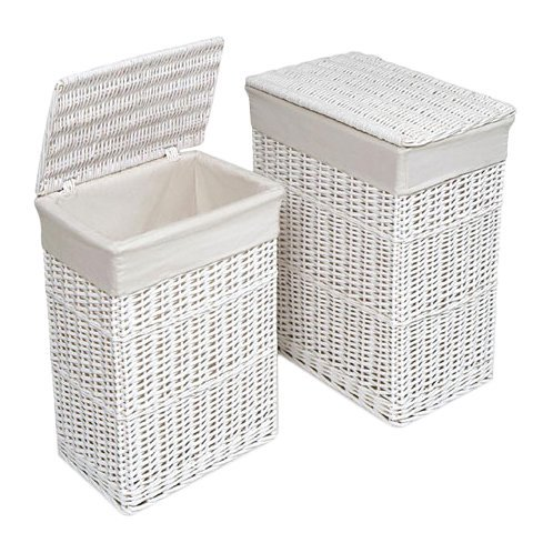 Wicker Rectangle Laundry Basket, 2 Piece, White by Viv + Rae