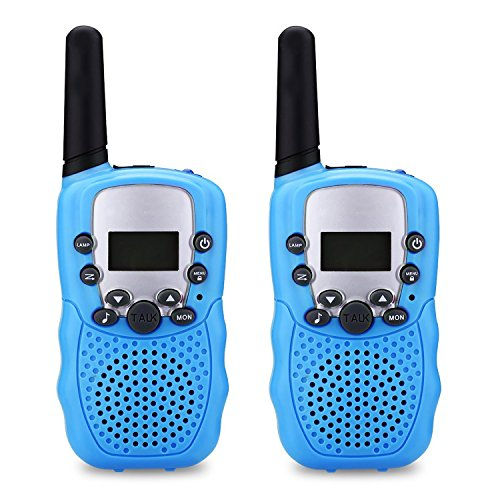 WERCOMIN Walkie Talkies for Kids T-388 22 Channel FRS/GMRS Outdoor Long Range Handheld 2 Way Radio Toys for Child with Built in LED Torch (Pack of 2, Blue) -