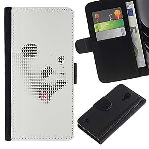 Be Good Phone Accessory // Caso del tirón Billetera de Cuero Titular de la tarjeta Carcasa Funda de Protección para Samsung Galaxy S4 IV I9500 // Panda White Grey Sleepy Yawn Japanese