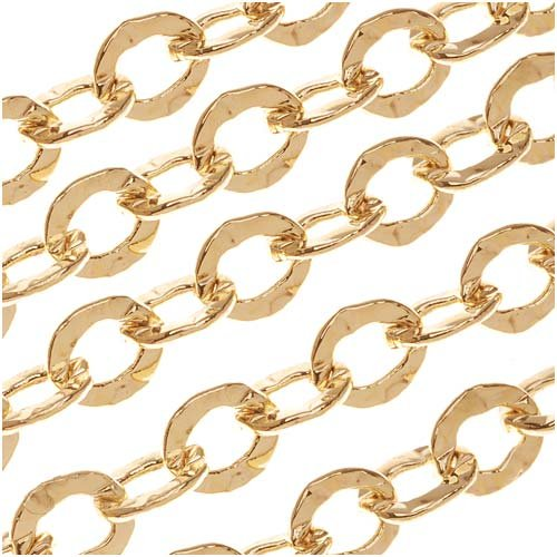 Beadaholique 22K Gold Plated Medium Hammered Cable Chain 6mm Wide Bulk By The Foot