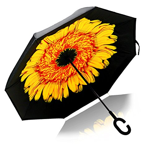 Strawberry Double Layer Wind-Proof, UV Proof Reverse Folding Inverted Umbrella Travel Umbrella with 'C' Shape Handle and Carrying Bag, Sunflower