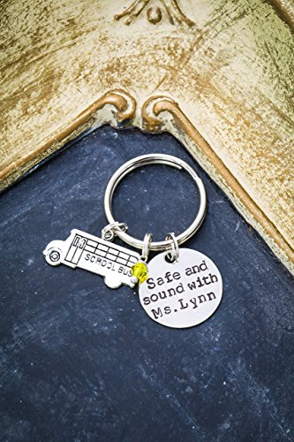 school-bus-driver-keychain-dii-thank-you-handstamped-handmade-teacher-gift-3-4-inch-19mm-silver-disc