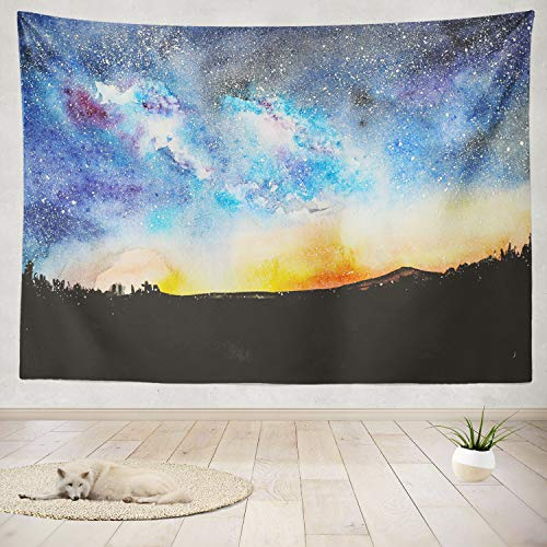 ONELZ Decor Collection, Halloween Nightly with Castle Silhouette Hill Sky Flying Ghost Castle Ghost Bedroom Living Room Dorm Wall Hanging Tapestry 60