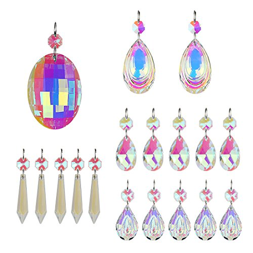 H&D 18pcs Colorful Lamp Prisms Parts with Octagon Bead Chandelier Glass Crystals Hanging Drops Pendants by H&D (Image #2)