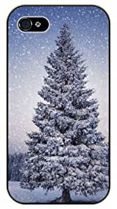 iPhone 4 / 4s Christmass tree covered in snow - black plastic case / Nature, Animals, Places Series