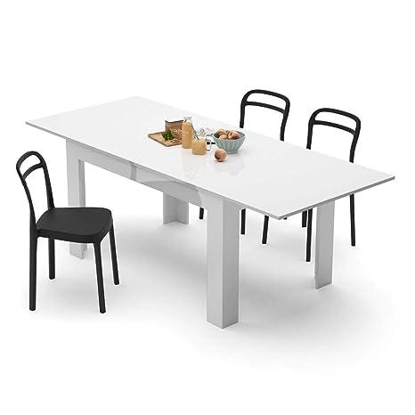 Mobili Fiver, Mesa de Cocina Extensible, Modelo Easy, Color Blanco Brillante, 140 x 90 x 77 cm