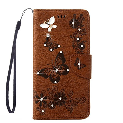 Samsung Galaxy Note 8 Case, ARSUE Shock Absorbing Premium Soft Flip Folio [Kickstand Feature] PU Leather Wallet Butterfly Flower Case with ID&Credit Card Pockets for Samsung Galaxy Note 8,Brown/Bling