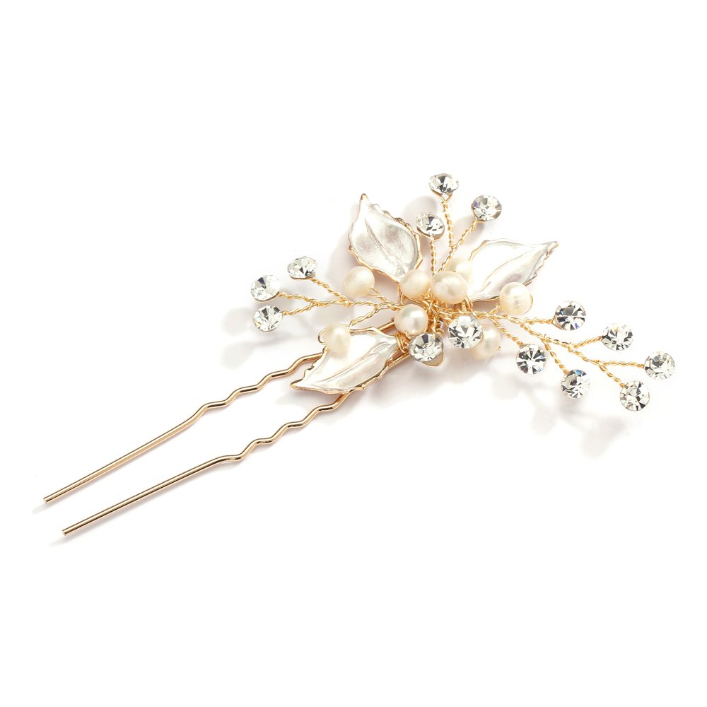 9d5bf0138 Mariell Handmade Gold Bridal Hair Pin Stick - Silvery Gold Leaves ...