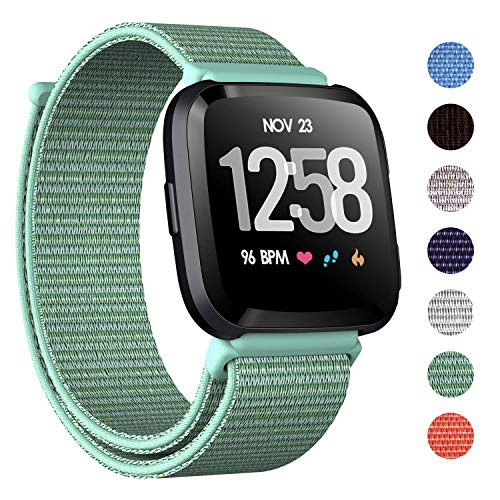 CAVN Nylon Bands Compatible with Fitbit Versa/Versa Lite Bands for Women Men, Breathable Watch Strap Adjustable Closure Replacement Wristband Accessories (Aquamarine)