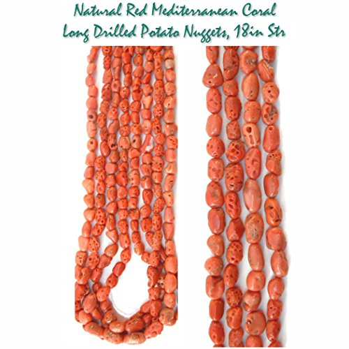Genuine 100% Natural Red Mediterranean Coral Long Drilled Potato Nugget Beads for Jewelry Making, 18 inch strand. (Red Coral Nugget Beads)