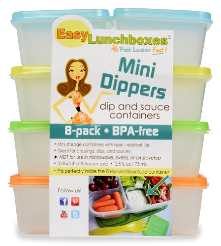 "EasyLunchboxes ""Mini-Dippers"" Small Dip and Sauce Containers, Leak-Resistant, Set of 8"