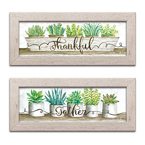 Gango Home Decor Cottage Thankful Succulent Pots & Gather Succulent Pots by Cindy Jacobs (Ready to Hang); Two 18x6in Distressed Framed Prints