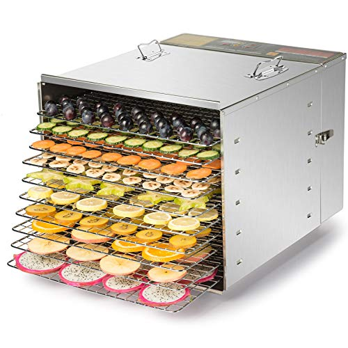 (CO-Z Commercial Grade Stainless Steel Electric Food Dehydrator Machine, Meat or Beef Jerky Maker, Fruit Dryer with 10 Trays, 155 Degree Fahrenheit, Jerky Safe with 15 Hour Timer, 1000W)