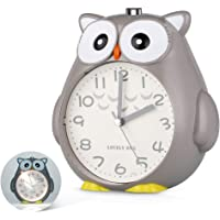 SkyNature Dual Alarm Clock,Owl Decor Clock with Night Light and Snooze,Silent Non-Ticking Battery Operated Loud Alarm Clock for Boys, Kids, Teens, Students Bedroom - Gray