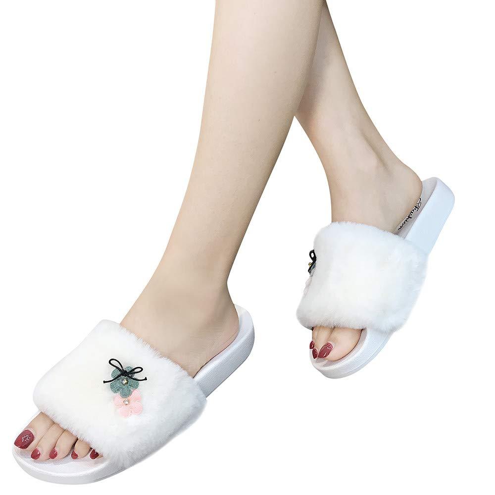 Slippers For Women, Clearance Sale !! Farjing Slip On Sliders Fluffy Faux Fur Flat Slippers Flip Flop Sandals(US:7,White1) by Farjing (Image #1)
