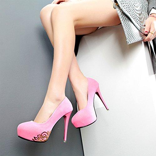 scarpe donna i camoscio donna fiore Pink alti scarpe da matrimonio night con da scarpe le GTVERNH club impermeabile tabelle tacchi tXwfqgvAx