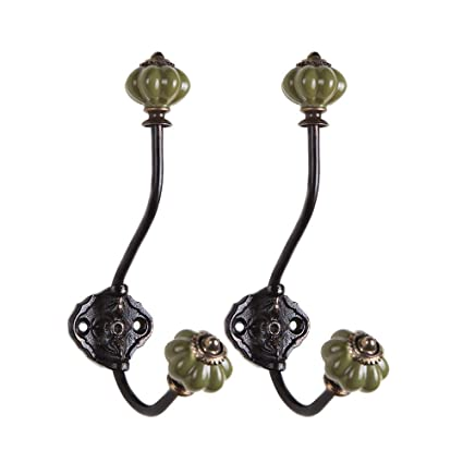 Pack of 2 Blue NIKKY HOME Vintage Wall Mounted Pumpkin Coat Hat Hook Cast Iron with Ceramic Tip