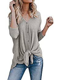 Womens Loose Fitting Henley Shirts Button Down Long Sleeve High Low Front Tie Tops