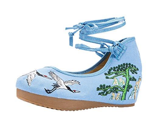 ezshe Mujer Bordado Suela de Goma Cuñas Tiras Zapatos de fiesta Azul - azul