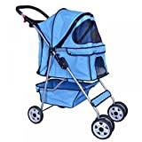 New Blue 4 Wheels Pet Stroller Cat Dog Cage Stroller Travel Folding Carrier 04T by BestPet