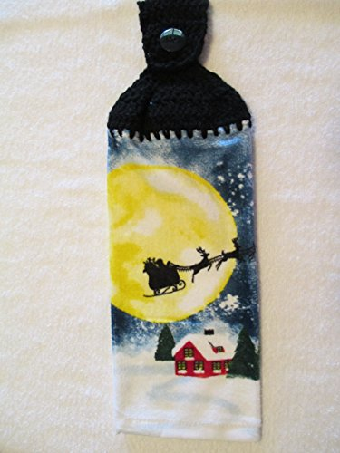 Moonlit Sleigh (Crocheted Christmas Santa Claus over the moon Kitchen Towel with Black Yarn)