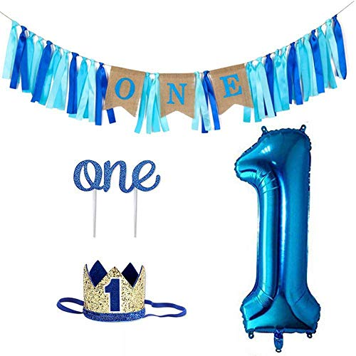 OSAYES First Birthday Decorations Set for Boy, 4PCS 1st Baby Birthday Party Supplies Kit, One Cake Topper, Tiara Crown Hat, Tassel Bunting, Large Foil Helium Balloon
