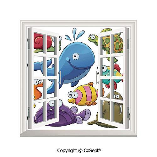Artificial Window Wall Applique Landscape Wall Decoration,Group of Underwater Animals Sea Otter Slug Snail Summer Day Art Illustration,Window Decorative Decals Interior(25.86x22.63 inch) ()