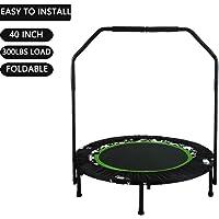 Buano Fitness-Trampolin leise Gummiseilfederung Haltegriff Randabdeckung, Nutzergewicht bis 100kg, Trampolin für Jumping