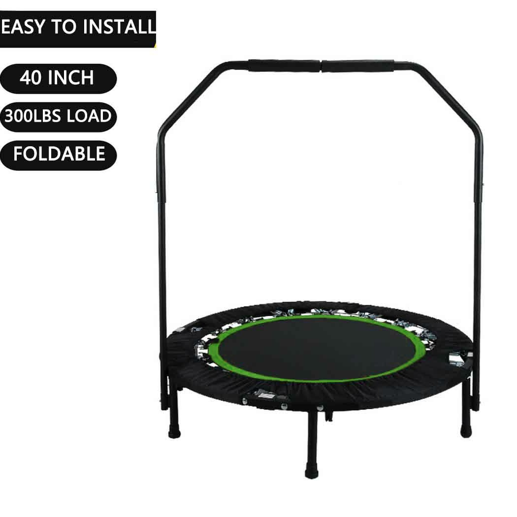 Portable & Foldable Fitness Workout Mini Rebounder Trampoline 40 Inch Max Load 300lbs with Adjustable Handrail for Indoor Garden Workout Cardio Exercise (Green)