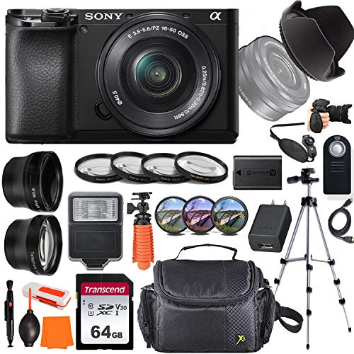 Sony Alpha a6100 Mirrorless Digital Camera with 16-50mm Lens + Wide-Angle & Telephoto Conversion Lens, 64GB Memory Card, Flex Tripod, Close-up & Filter Kits, Digital Flash & More...