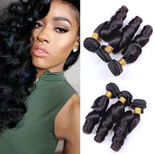 IUEENLY Virgin Brazilian Funmi Hair 3 Bundles Aunty Funmi Bouncy Virgin Hair Spiral Curly Weave Human Hair Extensions Natural Color (8 10 12inch) from IUEENLY