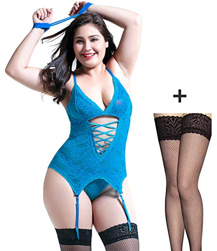 Sexy Lingerie for Women Upgraded Stretchy Lace Teddy Bodysuit Plus Size Lingerie Blue XX-Large -