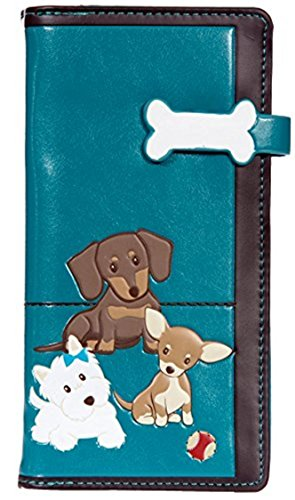 Shag Wear Women's Large Clutch Wallets With Zipper Pocket Cats and Dogs Designs (Teal Puppy ()