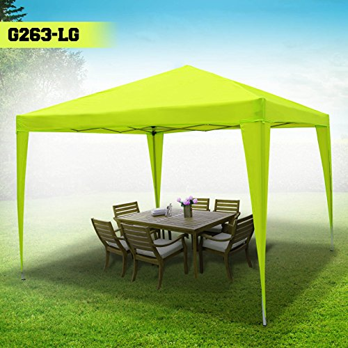 BenefitUSA EZ POP UP Wedding Party Tent 10'x13′ Folding Gazebo Beach Canopy W/Carry Bag 210D Oxford Fabric (Leman Green)
